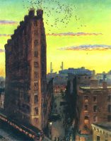 "The Varitype Building at Sixth Avenue and Cornelia Street in Greenwich Village, home to Pacific Affairs from 1956 to 1961, as rendered by the artist John French Sloan in his ""The City from Greenwich Village"" (1922)."