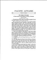 The inaugural issue of <em>Pacific Affairs</em>, featuring an essay by the eminent Chinese intellectual, essayist, and diplomat Hu Shih.